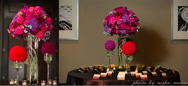 Purple pink tall centerpiece