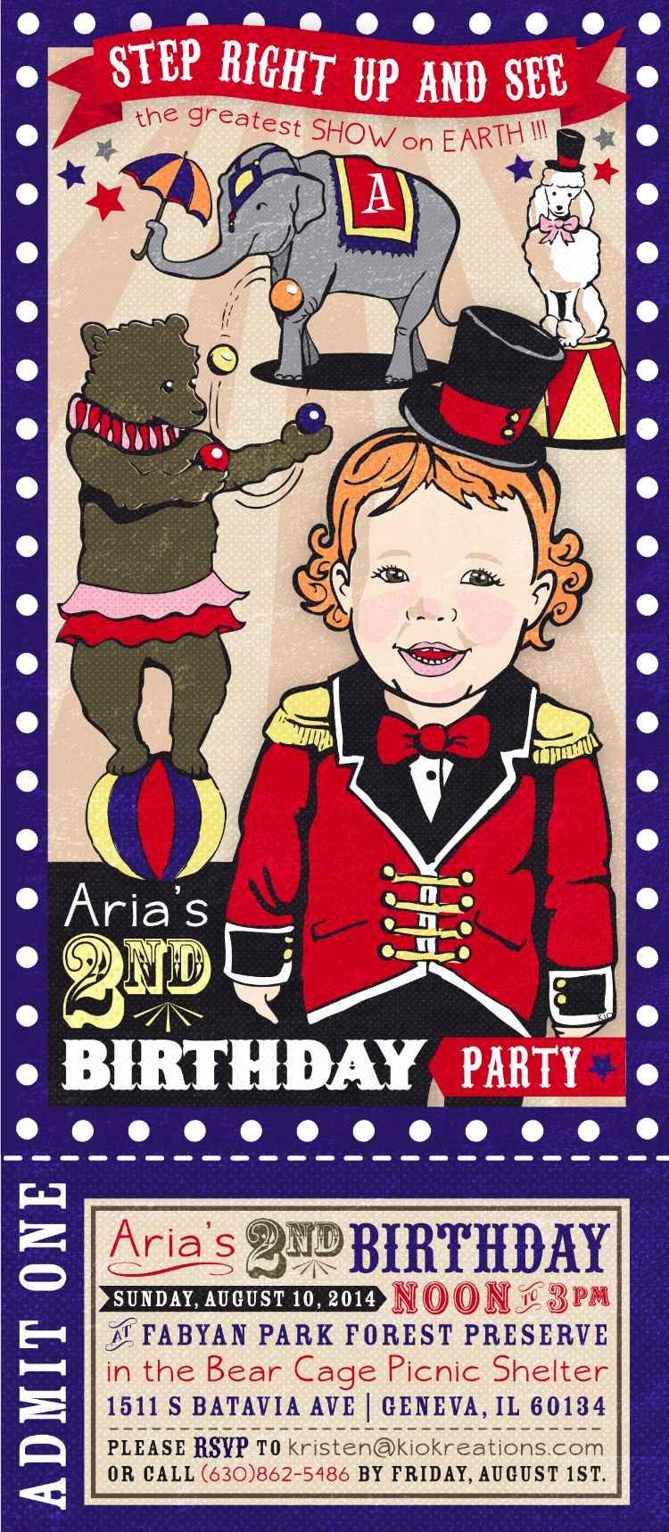 circus party invitation ticket