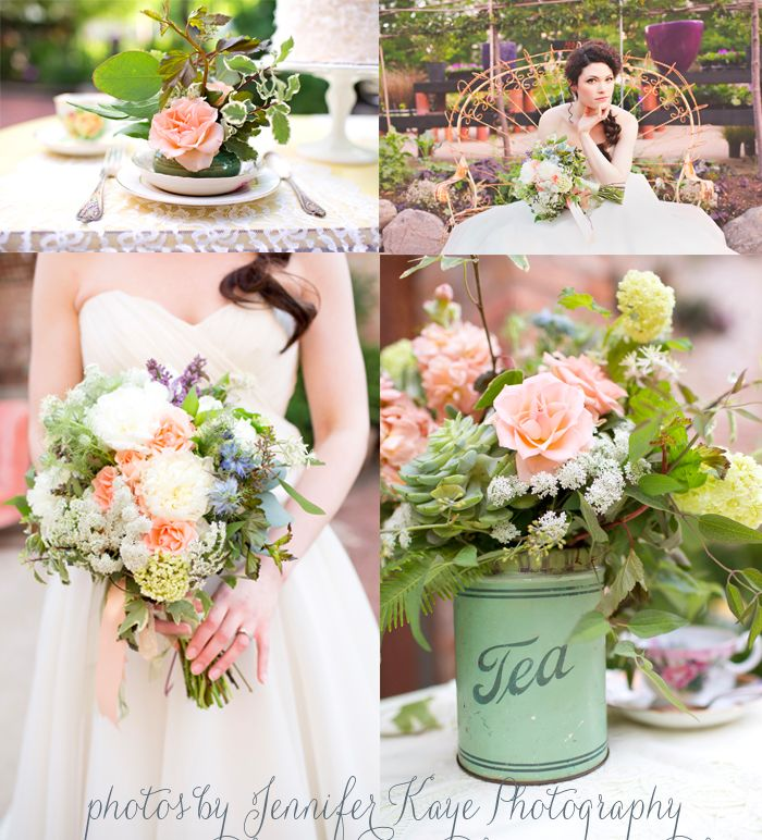 peach green white blue wedding flowers