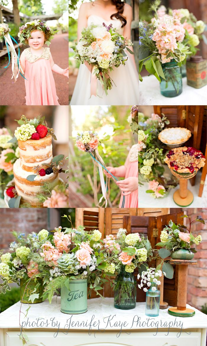 naked cake tea tins garden centerpieces
