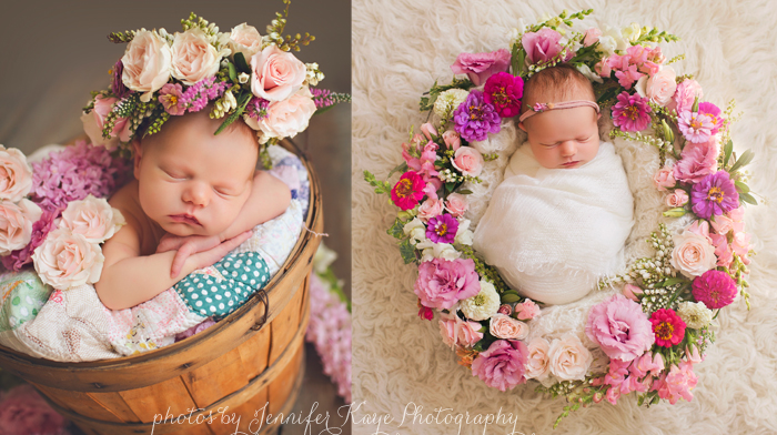 Newborn with flowers newborn baby photography naperville event florist
