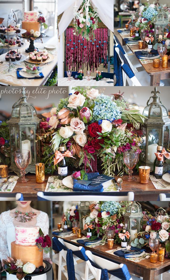 jeweltone wedding, textural centerpiece, rectangle wedding table, lanterns